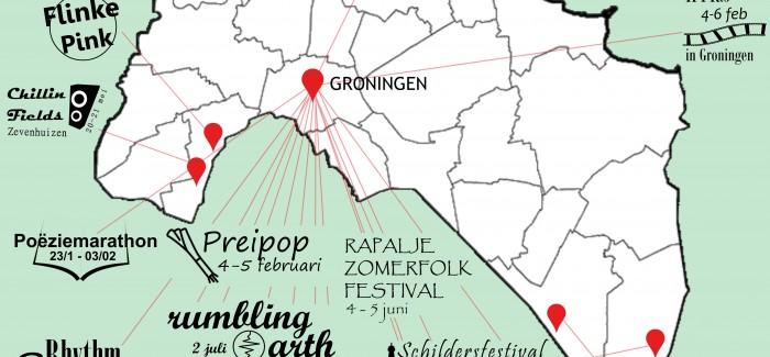 Festivalkaart van Groningen, januari – juli 2016