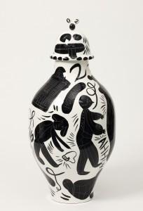De nieuwe vaas, waarop het ongeluk staat afgebeeld.